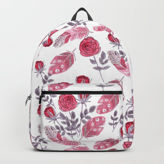 Watercolor . Floral pattern with bird feather .1 Backpack