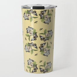 Butterflies and Camellias on Canary Yellow Pattern Travel Mug