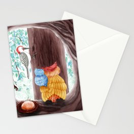 Owl mom owl baby and their neighbor Stationery Cards