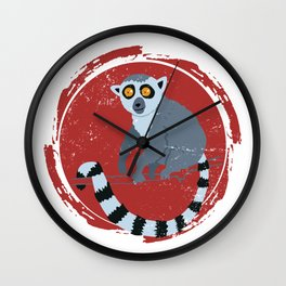 Lemur In A Red Circle Wall Clock