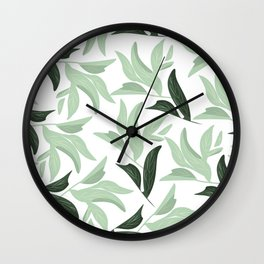 Abstract modern green pastel color leaves floral Wall Clock