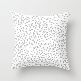 grey spots minimalist decor modern gifts grey and white polka dot brushstroke painting Throw Pillow