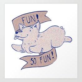 Corgi Fun - blue and brown Art Print