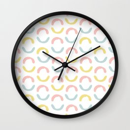 Pastel pink coral blue yellow abstract geometrical circles Wall Clock
