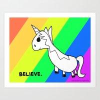 Believe in Unicorns - Art by Child Art Print