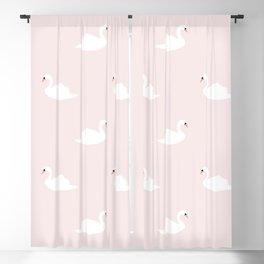 Swan pattern on pink 033 Blackout Curtain