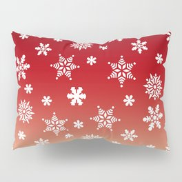 Snow Flurries-Red/Cream Ombre Pillow Sham
