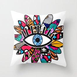 Greek Evil Eye Groovy Flower Throw Pillow