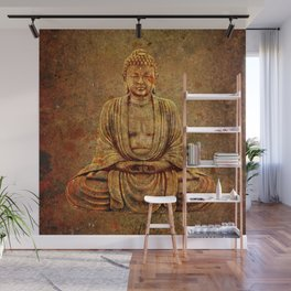 Sand Stone Sitting Buddha Wall Mural