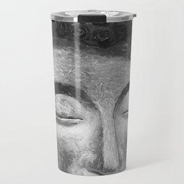 Silver buddha head by Brian Vegas Travel Mug