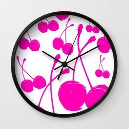 Pink neon Cherry Wall Clock