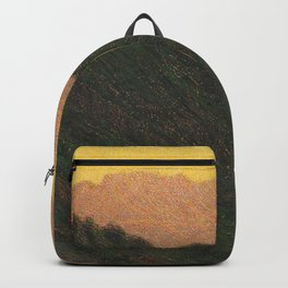 Golden Sunset Apennine Mountains Milan, Italy alpine landscape painting by Angelo Morbelli Backpack