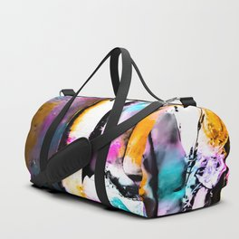 cactus with wooden background and colorful painting abstract in orange blue pink Duffle Bag