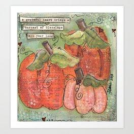 thankful pumpkins Art Print