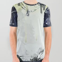Modern Indigo Eclipse Abstract Design All Over Graphic Tee
