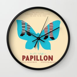 Papillon, Steve McQueen vintage movie poster, retrò playbill, Dustin Hoffman, hollywood film Wall Clock