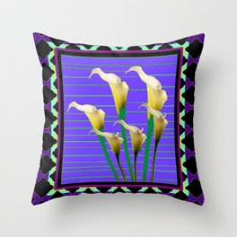Black-Purple Deco Calla Lilies Pattern Throw Pillow