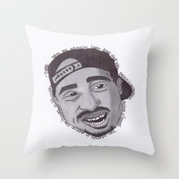 "tupac Throw Pillows featuring Tupac ''State Of Mind"" by SkilledCreativity"