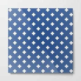 White Swiss Cross Pattern on Blue background Metal Print