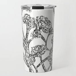 Black and white Rollerball Pen Tree Branches Drawing Travel Mug
