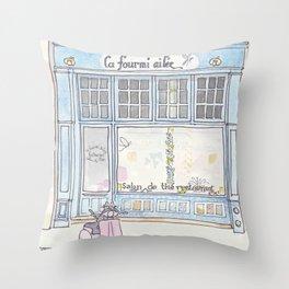 Paris Blue Cafe with Pink Scooter Cat  Throw Pillow