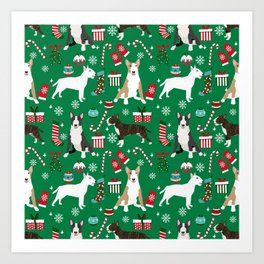 Bull Terrier christmas holiday pet pattern stockings presents dog breed gifts Art Print