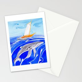 humpback whale and polynesian outrigger sail boat Stationery Cards