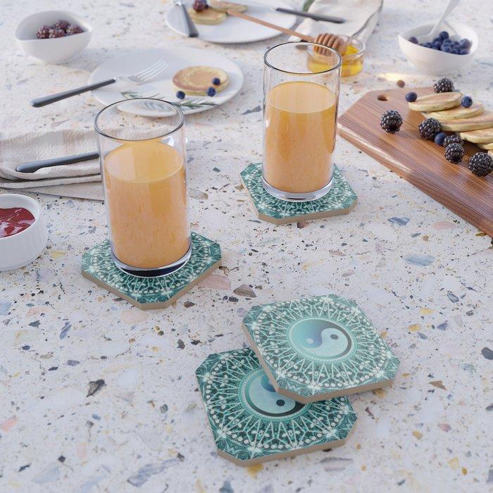 Tranquility Yin Yang Blue Aqua Mandala Coaster