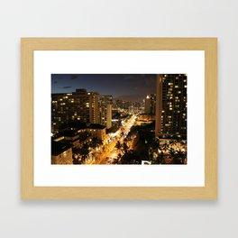 Waikiki Hawaii at night Framed Art Print