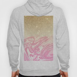 Pink white faux gold glitter modern marble Hoody