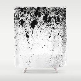 BLACK INDIAN INK SPLASH ON WHITE PAPER  Shower Curtain