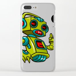 Retro Robot Clear iPhone Case