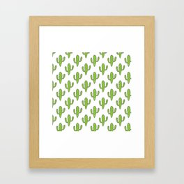 Hand painted green black white floral cactus Framed Art Print
