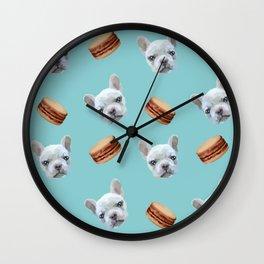 French Bulldog and macaroon pattern (Chocolate) Wall Clock