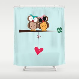 Love owls on the branch, blue background Shower Curtain