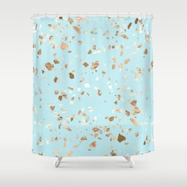 Blue Gold Modern Terrazzo Shower Curtain