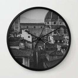 The beautiful city of Florence | De Cattedrale di Santa Maria del Fiore | Analog photography black and white art print Wall Clock