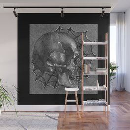 Black Grey and White, American Style Tattoo Skull Wall Mural