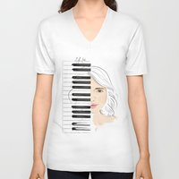piano V-neck T-shirts featuring Piano by Lluna Llunera