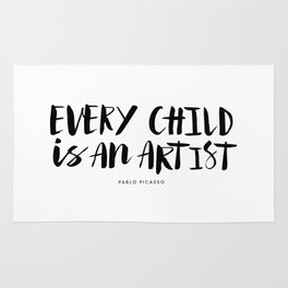 Every Child is an Artist black-white kindergarten nursery kids childrens room wall home decor Rug