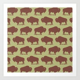 Buffalo Bison Pattern Brown and Chartreuse Art Print