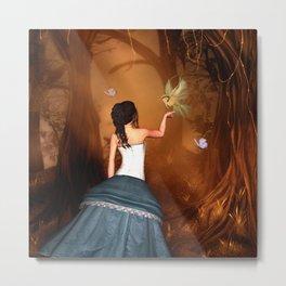 Wonderful fairy with fantasy bird Metal Print