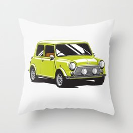 Mini Cooper Car - Chartreuse Throw Pillow