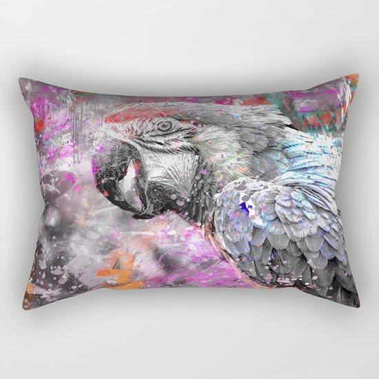 artsy parrot mixed media art Rectangular Pillow