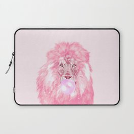 Lion Chewing Bubble Gum in Pink Laptop Sleeve