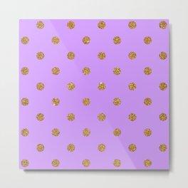 Bright Ube Gold Glitter Dot Pattern Metal Print