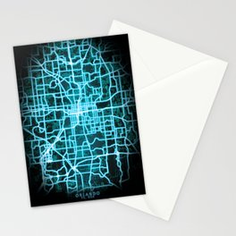 Orlando, FL, USA, Blue, White, Neon, Glow, City, Map Stationery Cards