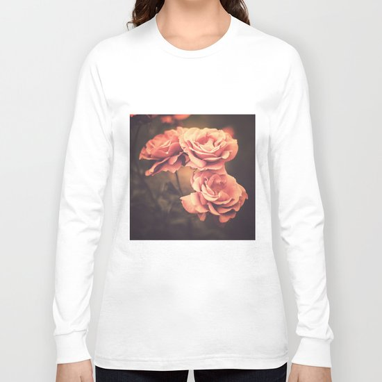 Three Pink Roses (Vintage Flower Photography) Long Sleeve T-shirt