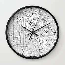 San Jose Map Gray Wall Clock