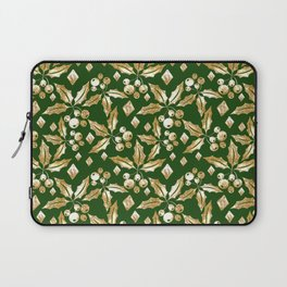 Christmas pattern.Gold sprigs on a dark green background. Laptop Sleeve